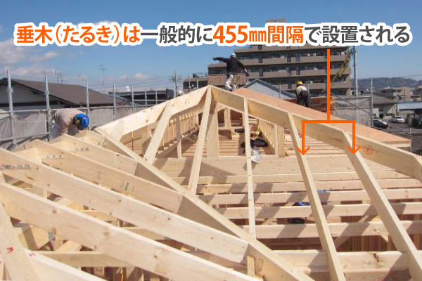 垂木は一般的に455mm間隔で設置される