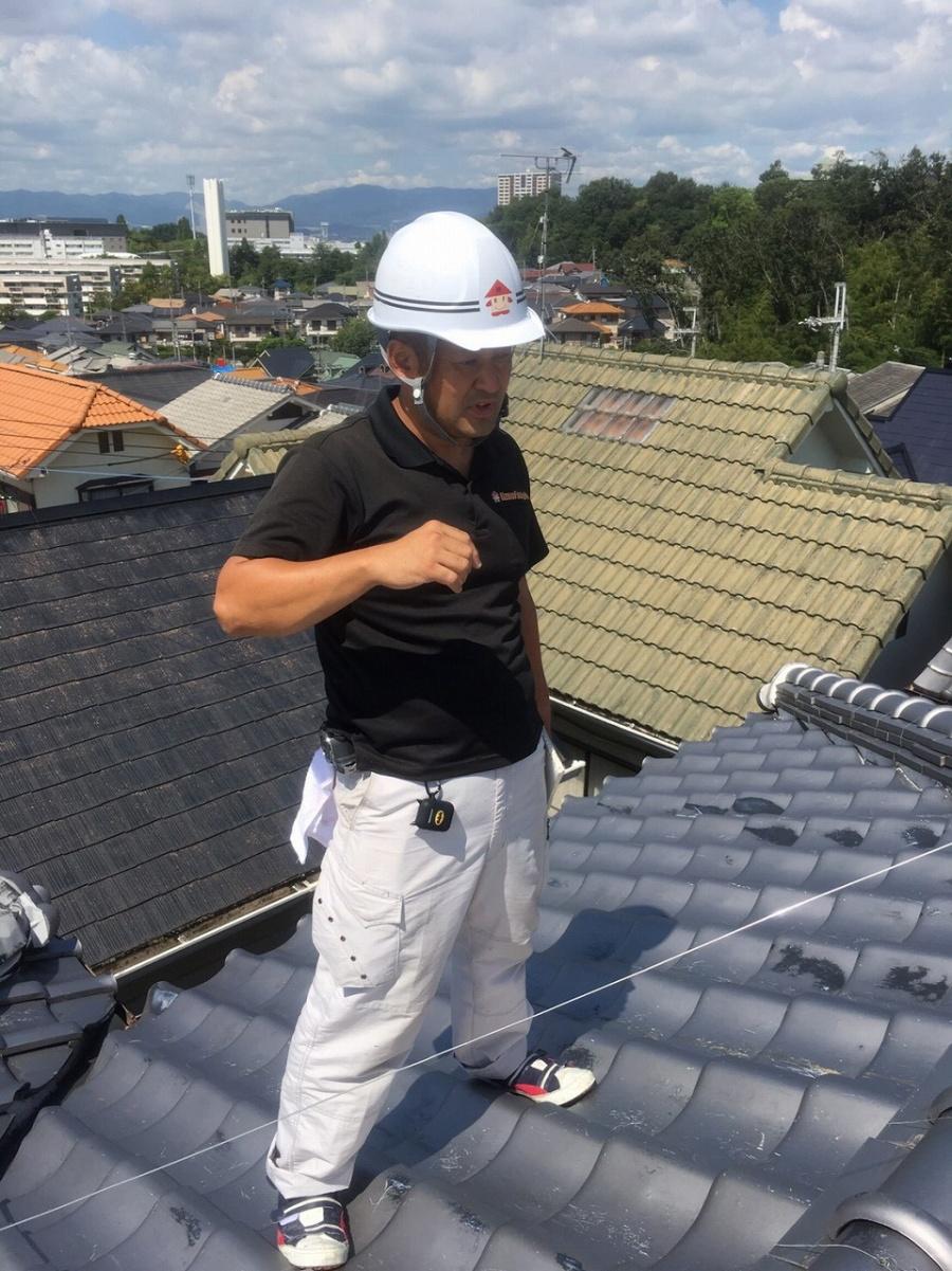 屋根に登っての確認