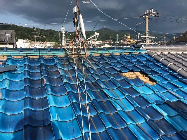 滋賀県大津市、台風の影響で被害を受けた屋根の修理に来ました