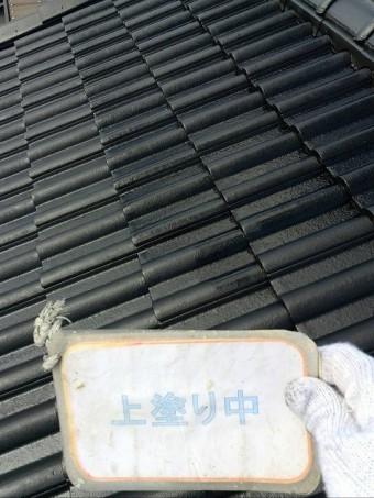 屋根遮熱塗装上塗り作業