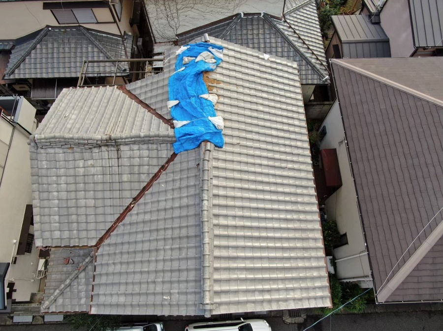 和瓦屋根瓦の飛散