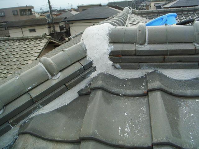 屋根の漆喰工事