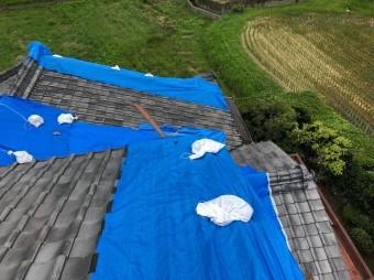 台風被害後の屋根の現場調査
