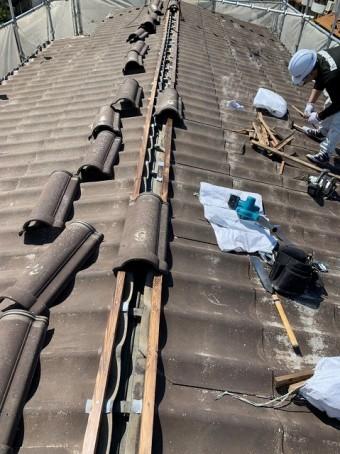 棟瓦の補修