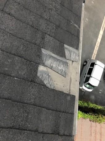 スレート屋根の飛散