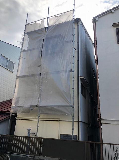 大津市坂本で台風で捲れた和瓦屋根漆喰の取り直し工事風景