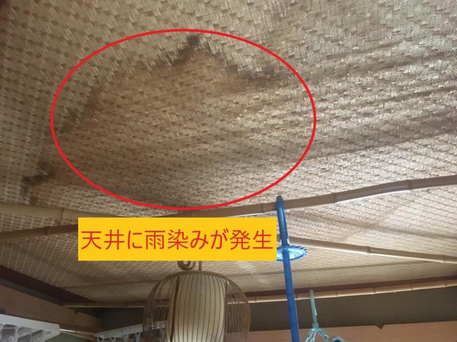 大津市で天井に雨染み発生、雨漏り修理のために現場調査に来ました