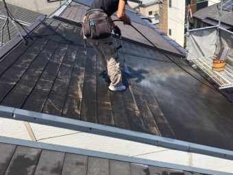 屋根高圧洗浄①