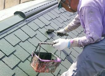 屋根塗装風景
